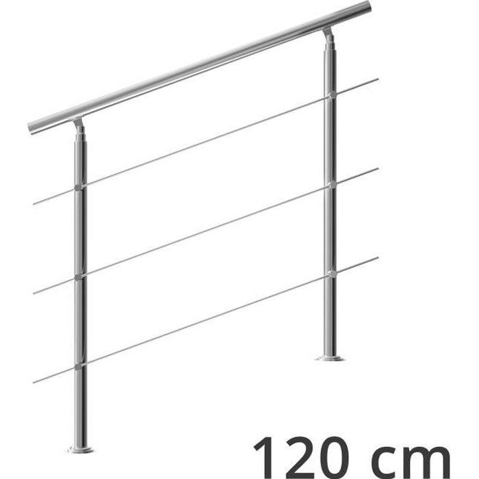 Rampe d'escalier 120 cm acier inoxydable 3 traverses main courante balustrade garde-corps aide escalier balcon intérieur extérieur