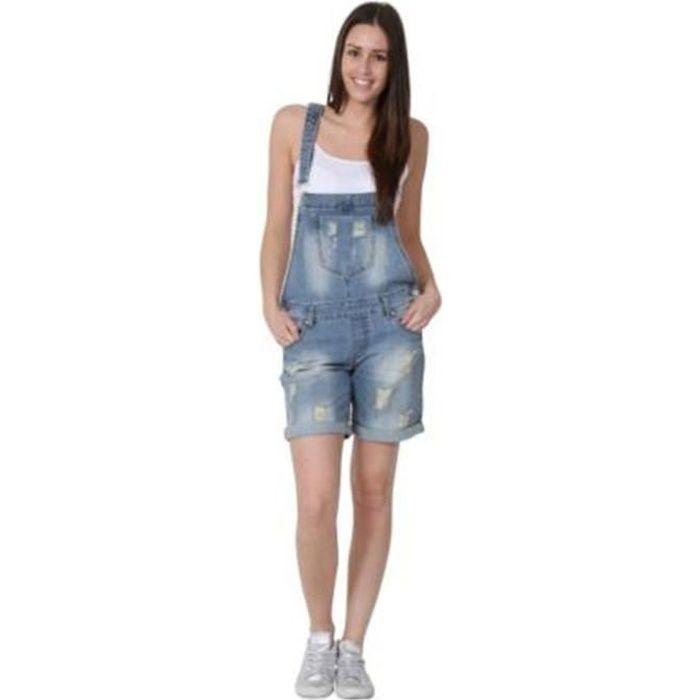 Salopette Short en jean denim shorts pour femme