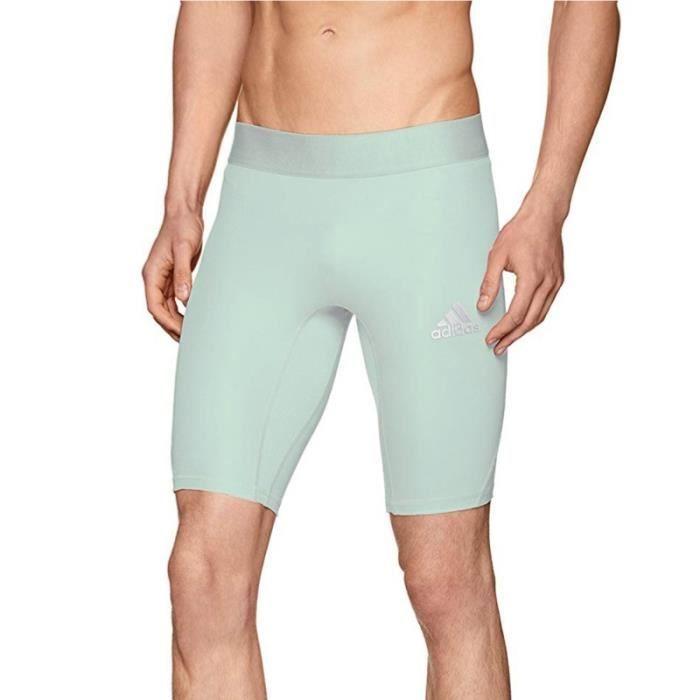 Short de compression vert clair homme Adidas Alphaskin