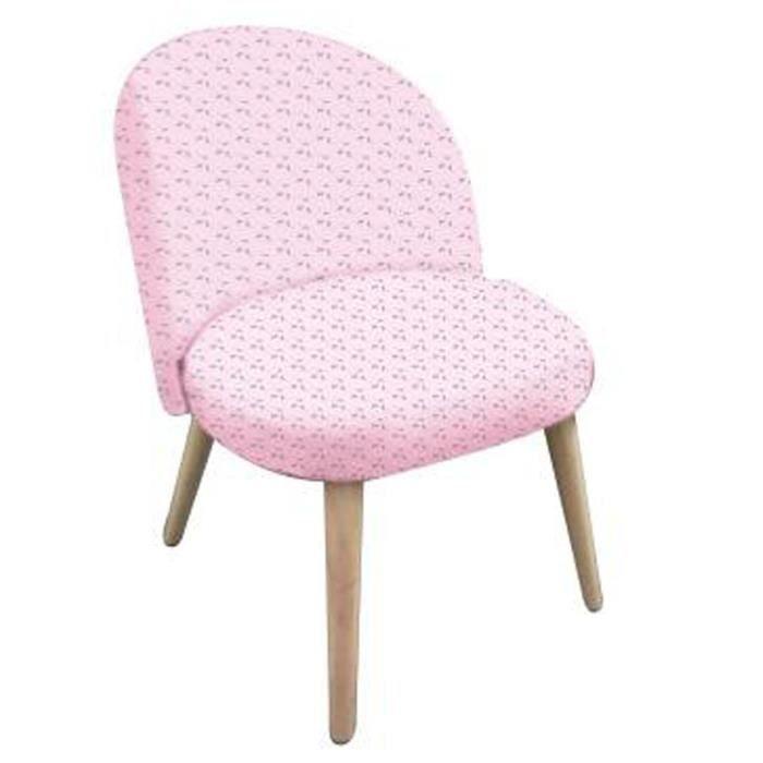 Fauteuil rose en pin et polyester, L 44 x L 47 x H 60 cm