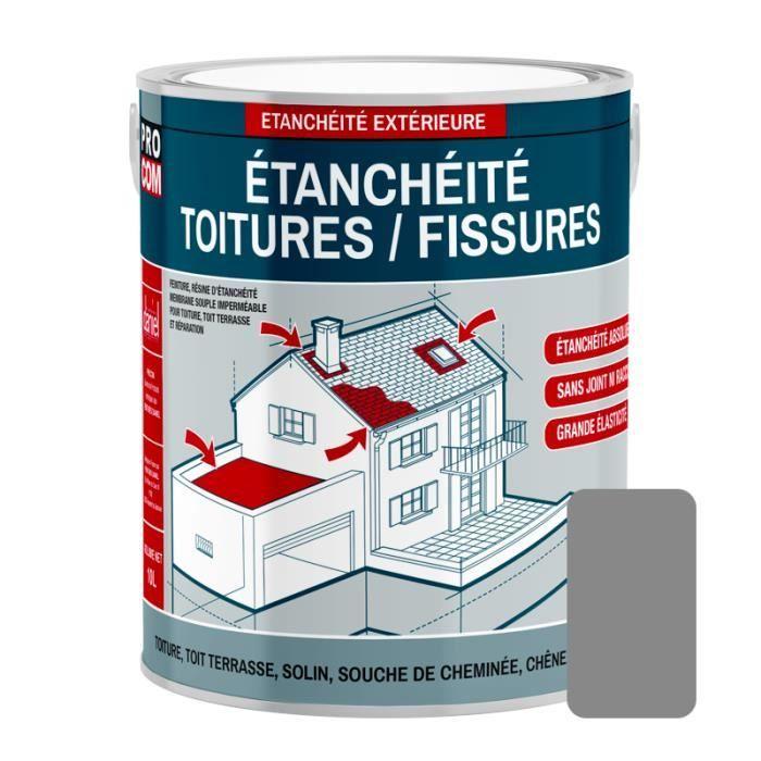 Peinture d'étanchéité pour toiture, réparation tuiles, fissures, anti-fuites, anti-mousse, décore et protège 0.75 litresGris 0,75