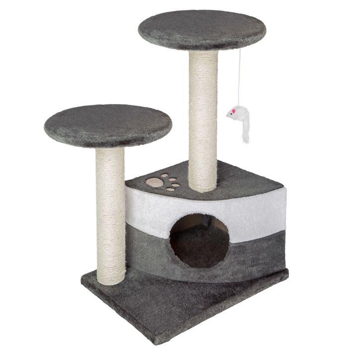 TECTAKE Arbre à chat 71 cm TOMMY Griffoir 1 Cabane + 1 Souris Gris