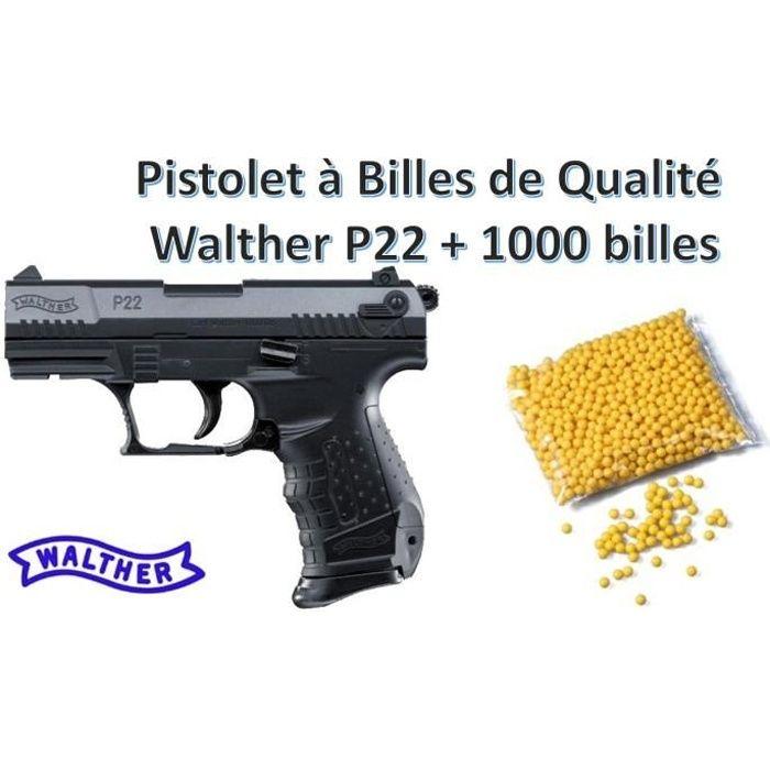Pistolet à Billes Qualité Pro Walther P22 avec 2 chargeurs + 1000 billes