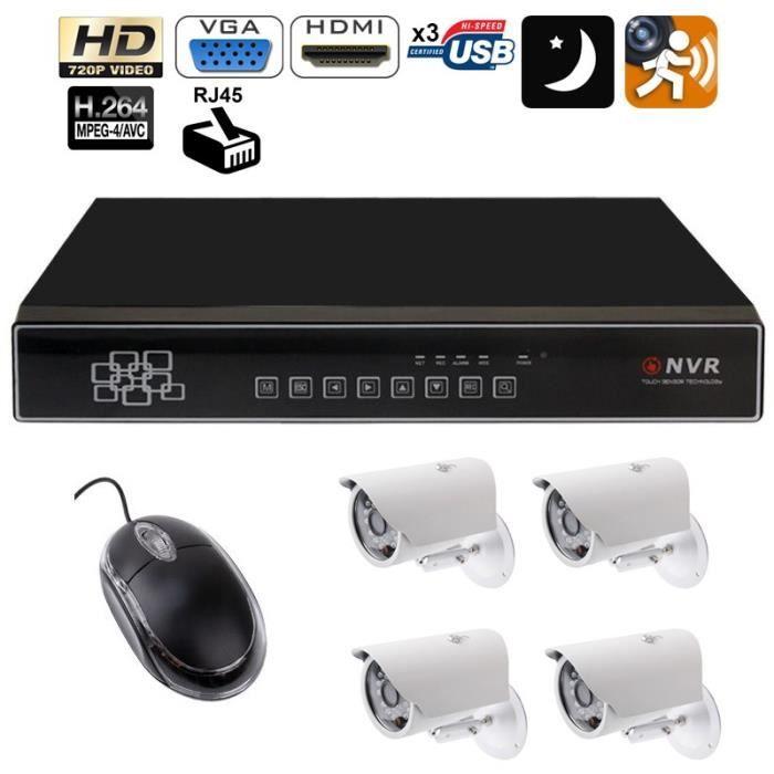Kit vidéosurveillance enregistreur 4 caméras IP IR 720p