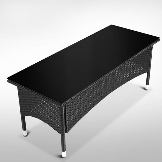 Table basse r sine tress e noir meuble jardin achat for Table basse resine tressee