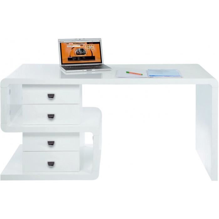 bureau design blanc laqu 4t 150x70 cm achat vente bureau bureau design blanc laqu 4. Black Bedroom Furniture Sets. Home Design Ideas