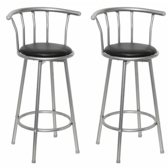 lot de 2 tabourets de bar noir design moderne 1202011 achat vente tabouret les soldes sur. Black Bedroom Furniture Sets. Home Design Ideas