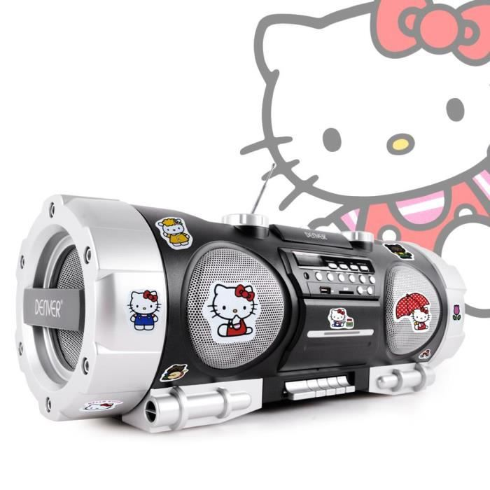 ghettoblaster boombox portable enfants lecteur cd radio autocollants hello kitty radio cd. Black Bedroom Furniture Sets. Home Design Ideas