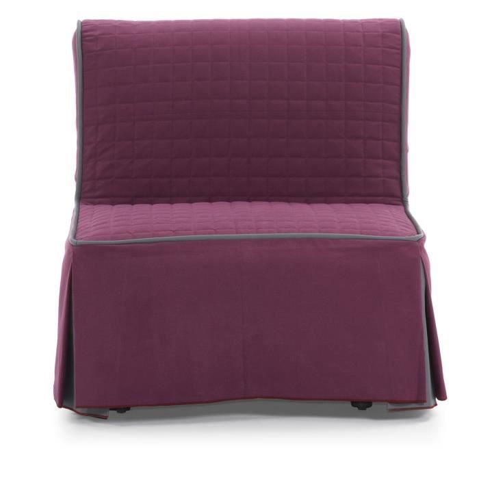 fauteuil convertible rodos violet avec bordure achat vente fauteuil cdiscount. Black Bedroom Furniture Sets. Home Design Ideas