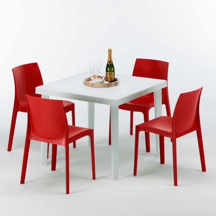 Table Carrée Blanche 90x90cm Avec 4 Chaises Colorées Grand ...