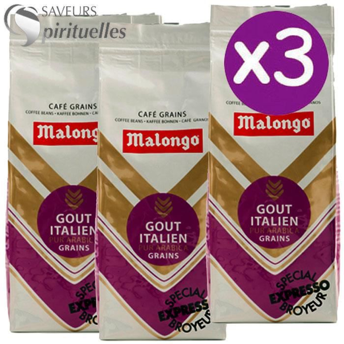 malongo caf grains go t italien x3x250g achat vente caf chicor e malongo caf grains. Black Bedroom Furniture Sets. Home Design Ideas