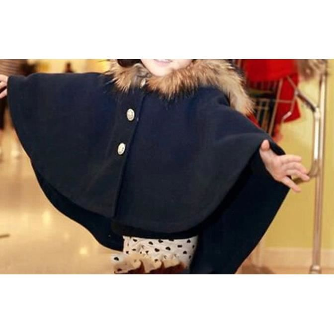 manteau fille poncho cape veste enfant noir achat vente manteau caban cdiscount. Black Bedroom Furniture Sets. Home Design Ideas