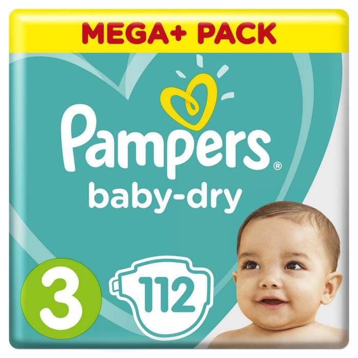 COUCHE Pampers Baby-Dry Taille 3, 6-10kg, 112 Couches - M