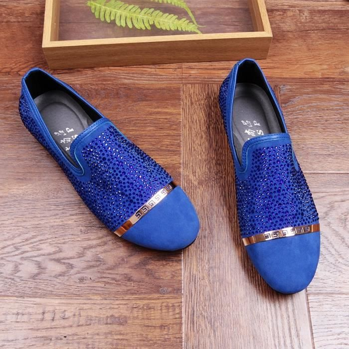 Hommes Luxe Mode de soirée de mariage Nubuck Chaussures en cuir suédé strass Slip-on Flat Oxford Chaussures Moccasin Ommino RYNbWBylnE