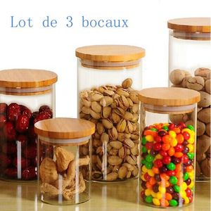 BOCAUX Verre Hermetique avec Couvercle Lot de 3 Bocaux Bo