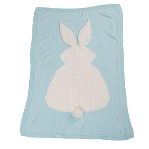 COUVERTURE - PLAID BÉBÉ FR-2961@Enfants lapin tricotant couverture couette