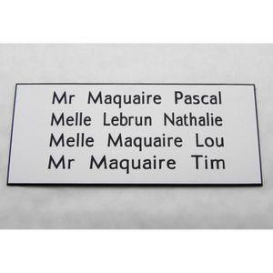 plaque gravée boite aux lettres porte personnalisée 4 lignes N°  ft 75x150 mm