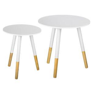 TABLE À MANGER SEULE Tables rondes - laqué blanc Set 2 pcs.