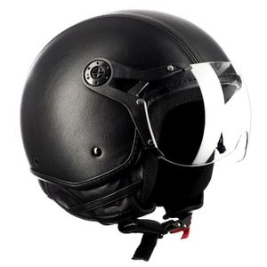 CASQUE MOTO SCOOTER Westt Classic X Leather Casque Moto Jet Cuir Noir