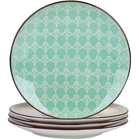 Assiette Plate Service de Table en C/éramique 12 pi/èces pour 4 Personnes vancasso Bols Assiette /à Dessert Style Impresionniste S/érie Starry