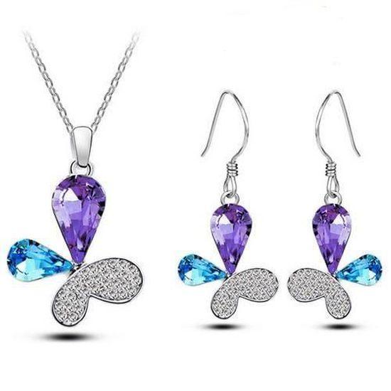 Parure Bijoux Papillon Cristal Swarovski* Turquoise et Violet Plaqué Or  Blanc 750