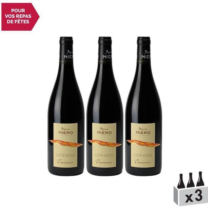 Côte Rôtie Eminence Rouge 2019 - Lot de 3x75cl - Rémi Niero - Vin AOC Rouge de la Vallée du Rhône - Cépage Syrah