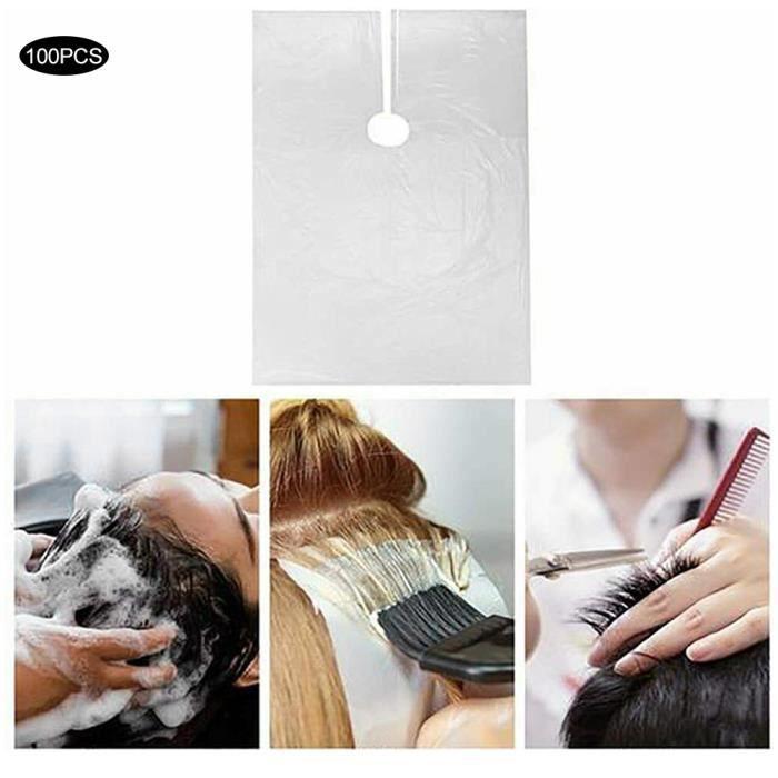 100pcs Tablier de Salon Jetable Cape Housse de Coupe-Cheveux Étanche pour Maison Outils de Coiffeur-NIM