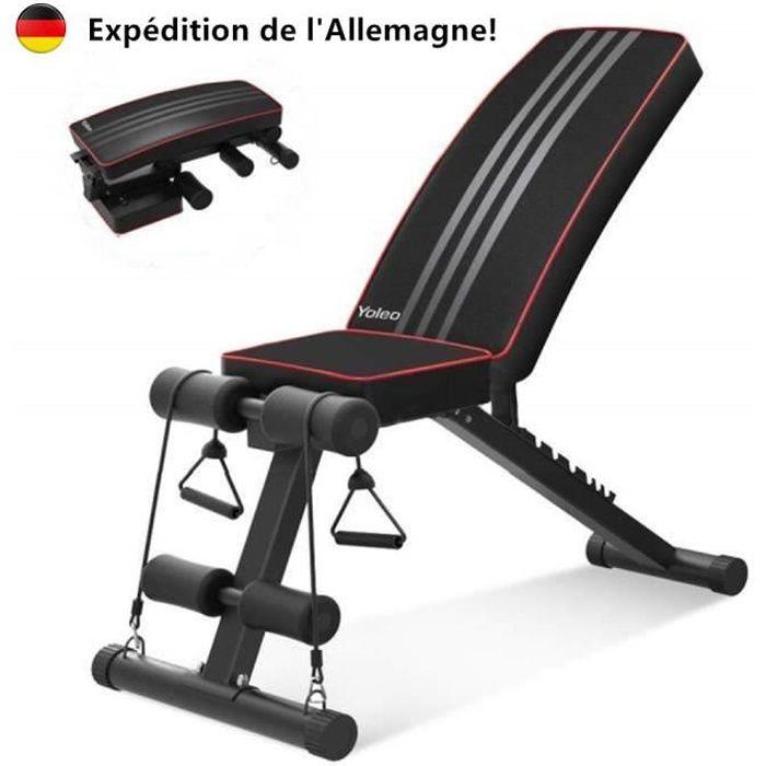 YOLEO Banc de Musculation Pliable Gym Sit-up Fitness Musculation Bras NOIR