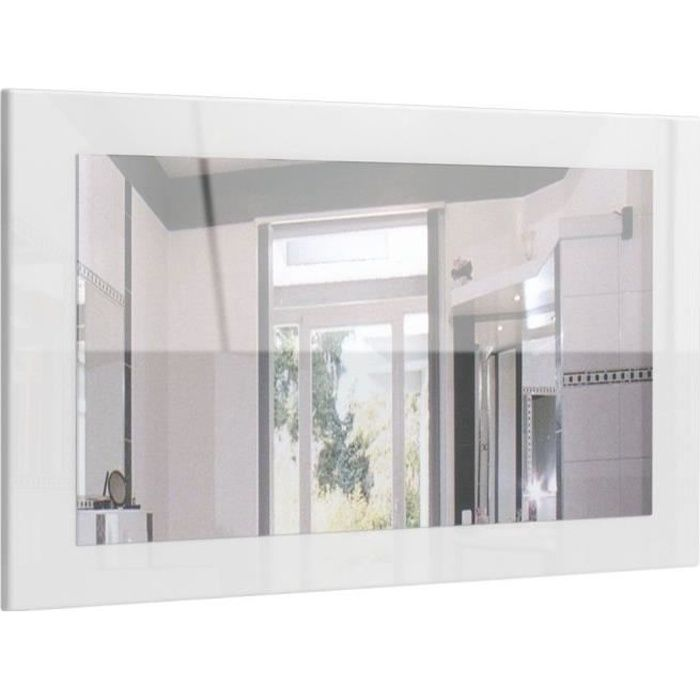 Miroir laqué haute brillance blanc 89 cm