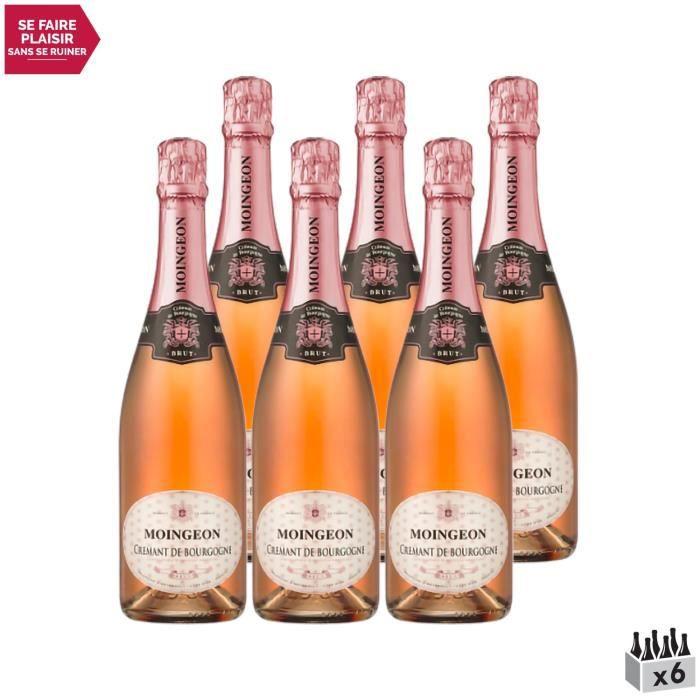 Crémant de Bourgogne Brut Rosé - Lot de 6x75cl - Maison Moingeon - Vin effervescent AOC Rosé de Bourgogne - Cépages Chardonnay, Pino