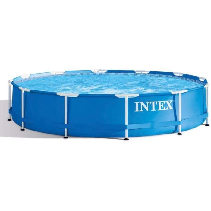 Intex Metal Frame Piscine d&eacutemontable Sans &eacutepurateur 366 x 76 cm bleu2