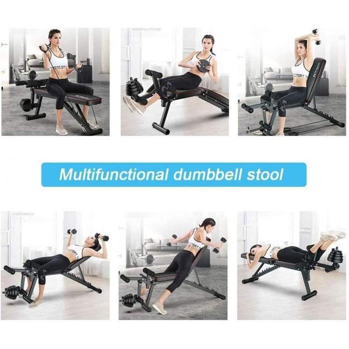 Banc de Musculation Multifonctions Pliable-avec Leg Extension Machine-Universel Banc à haltères Exercices abdominaux Exercices-[239]