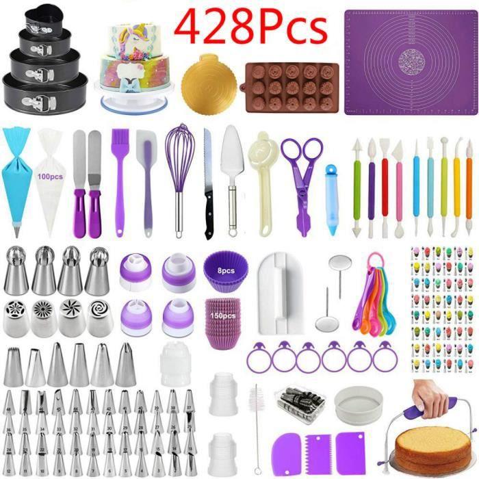 428 Pcs Kit De Fournitures De Décoration De Gâteaux,Ensemble De Cuisson ,Outils De Pâtisserie, Moule À Gâteau Au Fromage
