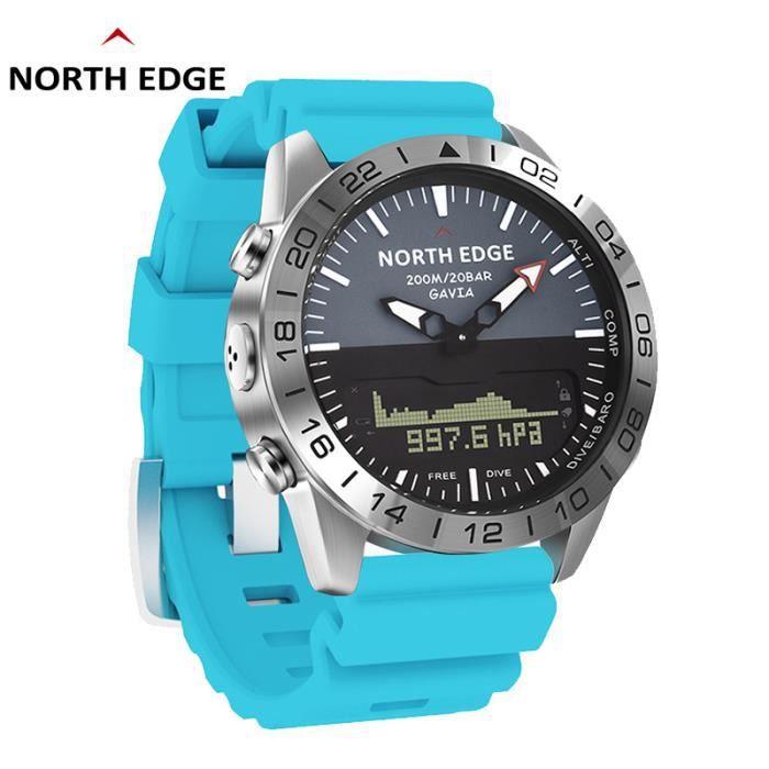 North Edge GAVIA 2 montres pour hommes d'affaires de luxe en acier complet étanche 200 m altimètre boussole plongée sport numérique