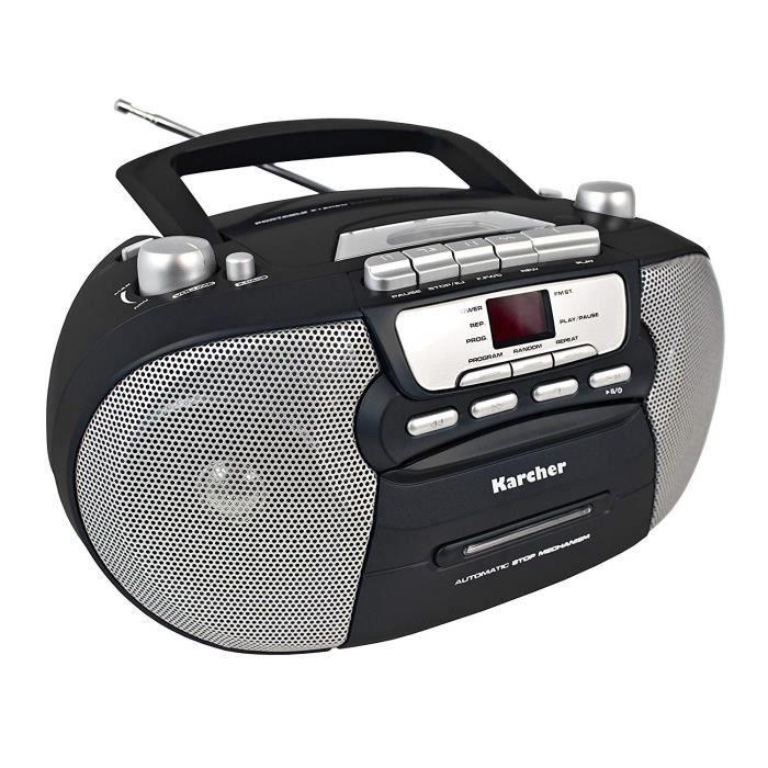 Karcher RR 5040 Oberon Radio-Lecteur CD Portable (Radio AM-FM, Lecteur CD, Cassette, AUX-in, Fonctionnement Secteur-Piles)
