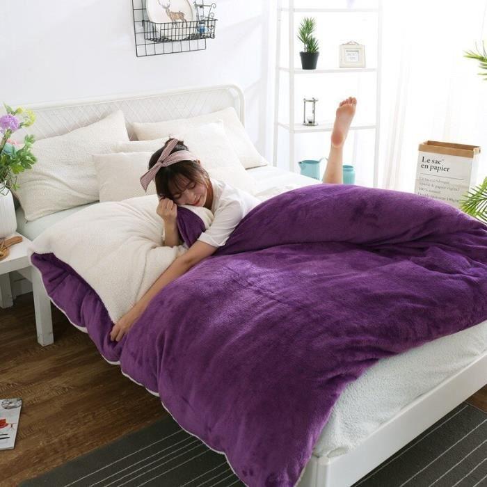 Housse de couette,Housse de couette épaisse en velours, polaire berbère, couleur unie, chaude, pour - Type Purple-200 X 230cm
