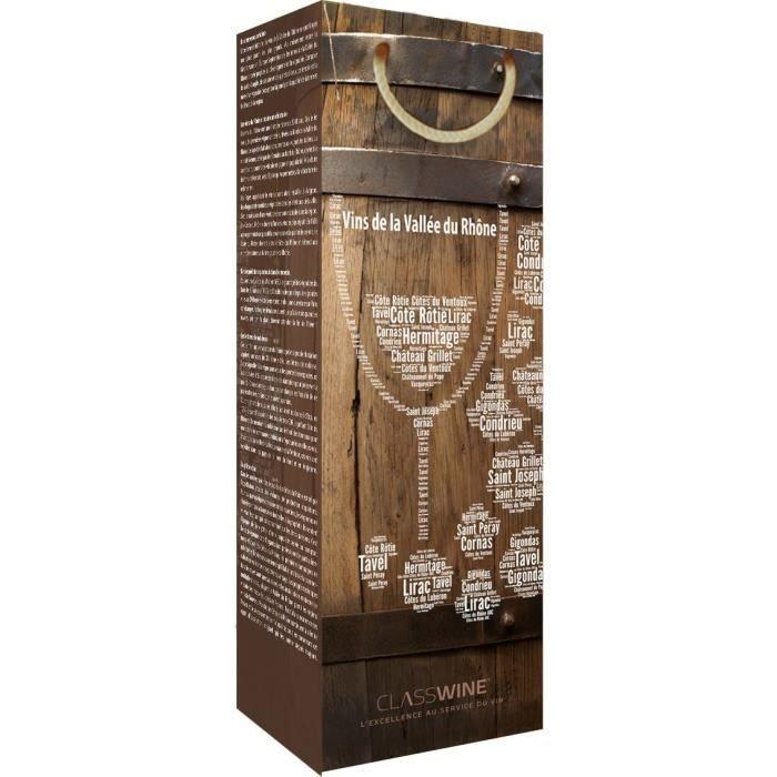 CLASSWINE Pochette pour 1 bouteille vin des Côtes du Rhône Barrique