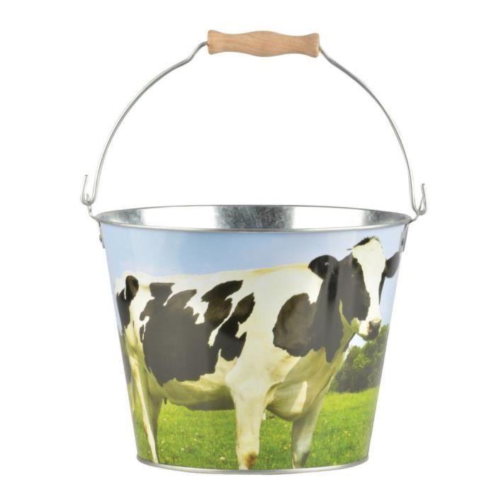 Seau Vache en zinc et bois