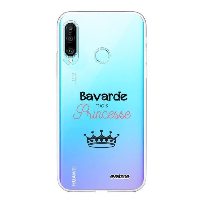 Coque Huawei P30 Lite 360 intégrale transparente Bavarde mais princesse Ecriture Tendance Design Evetane