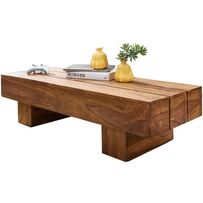 FineBuy Table Basse Bois Massif 120x30x45cm Table d'appoint Table de salon [Sheesham]
