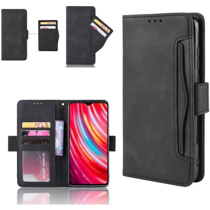 Etui Xiaomi Redmi Note 9 Pro / Max / 9S Portefeuille Noir Coque Housse En Cuir Pu - 5 Emplacement Cartes hfs-house®