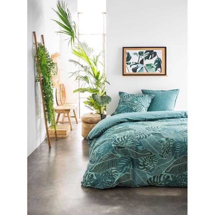 TODAY Parure de couette 220x240 + 2 taies d'oreiller 65x65 cm - 100% Coton - Vert Floral SUNSHINE 4.30 TODAY
