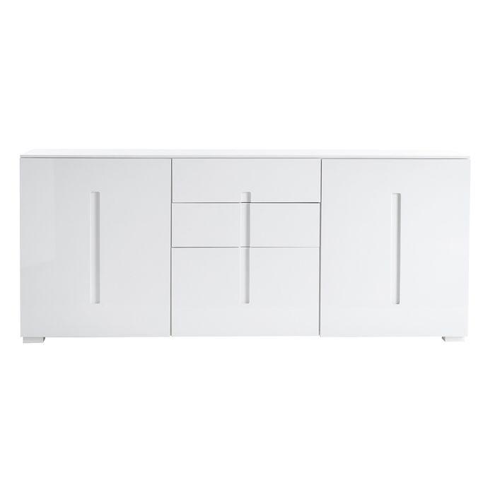 Miliboo - Buffet design blanc laqué 2 portes 3 tiroirs TED