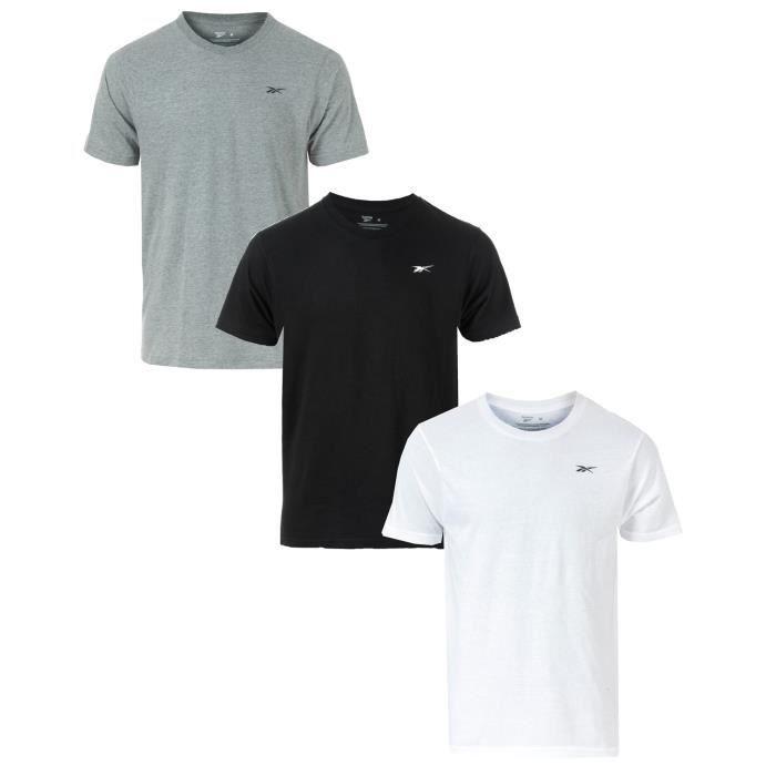 Lot De 3 T-Shirts Reebok Cotton Rich Performance Pour Homme En Noir Et Gris.