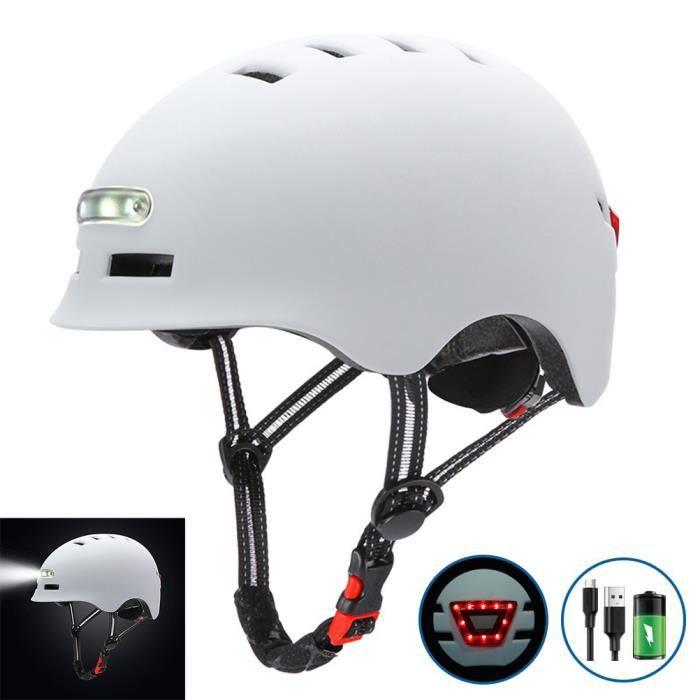 SURENHAP - Casque de Vélo Avec Charge USB Lumière Vive, Voyant D'avertissement - Tour de Tête (54-57cm) - Rithok -sd985fg