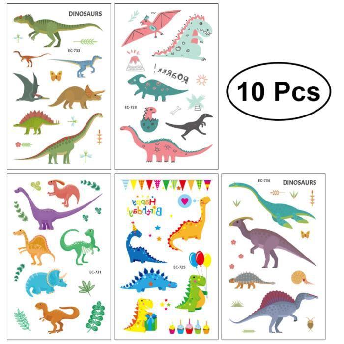 Autocollants de tatouage de dinosaure décoratif mignon dessin animé fête faveur autocollants de pour enfants enfant en bas âge