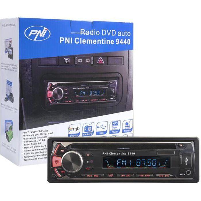 Autoradio Lecteur DVD PNI Clementine 9440 1 DIN Radio FM, SD, USB, Sortie vidéo, Bluetooth, Plaque Avant Amovible