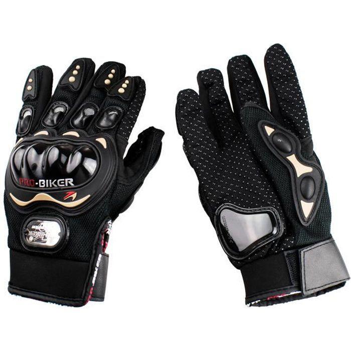 PRO-BIKER Gants doigt complet gants de moto/course antidérapant pour moto/vélo/sports etc (noir-M)