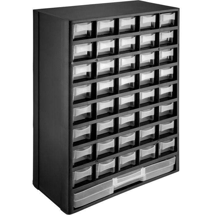 TECTAKE Casier à vis 41 Tiroirs Etagère Caisse de Rangement Bricolage en Plastique 30 cm x 13,5 cm x 45 cm
