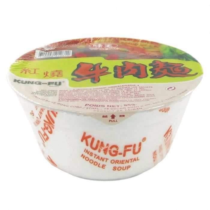 Soupe / Nouilles instantanées taïwanaises en bol - Saveur boeuf - Marque Kung Fu Ve Wong - 85g - Lot de 12 bols